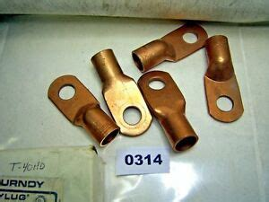 Lot Of 5 Burndy Copper Cable Lugs T-40Hd (0314)