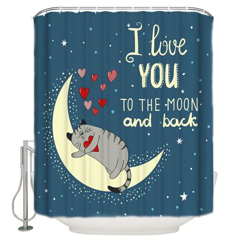 Love You To Moon Back Shower Curtain
