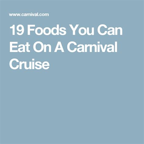 Low Carb Diet On Carnival Cruise