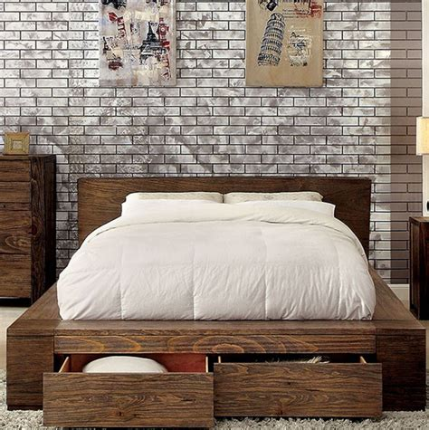 Low Profile Platform Bed With Drawers