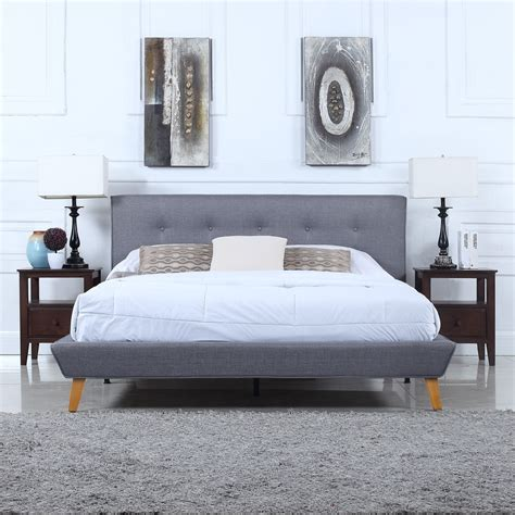 Low Profile Platform Bed With Headboard