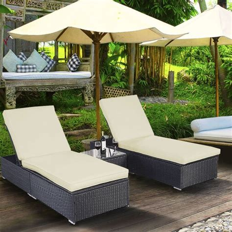 Lulu Reclining Chaise Lounge Set With Cushions And Table By Alcott Hill