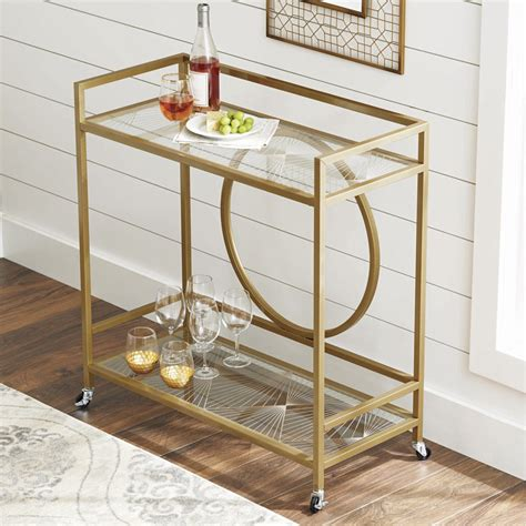 Luxe Glass And Steel Bar Cart