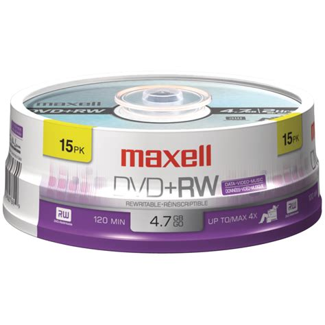 MAXELL 634046 4.7GB 120-Minute DVD+RWs (15-ct Spindle)