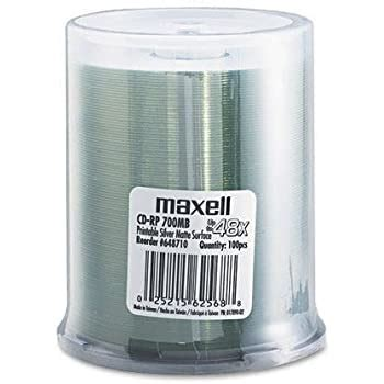 MAXELL CORP OF AMERICA 648710 CD-R Discs, 700MB/80 min, 48x, Spindle, Printable Matte Silver, 100/Pack