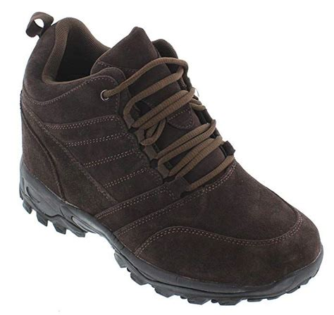MD008-3.2 inches Taller - Height Increasing Elevator Shoes (Brown Lace-up Sneakers)