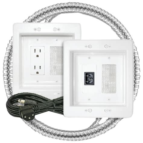 MIDLITE Power Jumper HDTV Power Relocation Kit (Includes Pre-Wired Metal Clad Cable) , White (22APJW-7R-MC)