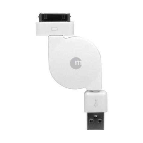 Macally Retractable USB to 30 Pin Cable White ResyncCable