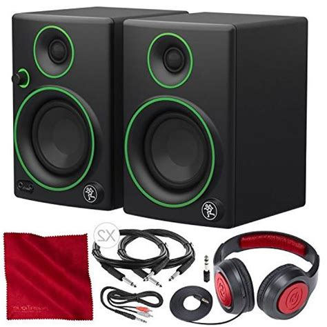 Mackie CR Series CR3 - 3' Creative Reference Multimedia Monitor Pair Deluxe Bundle with Closed-Back Headphones and More