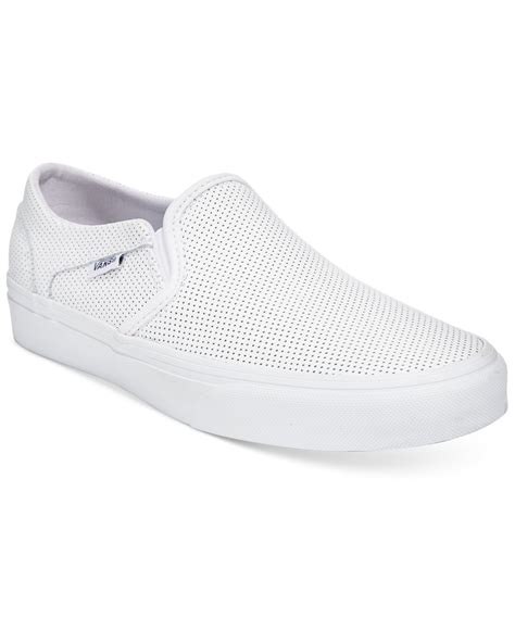 Macy's Vans Womens White Slip On Sneakers