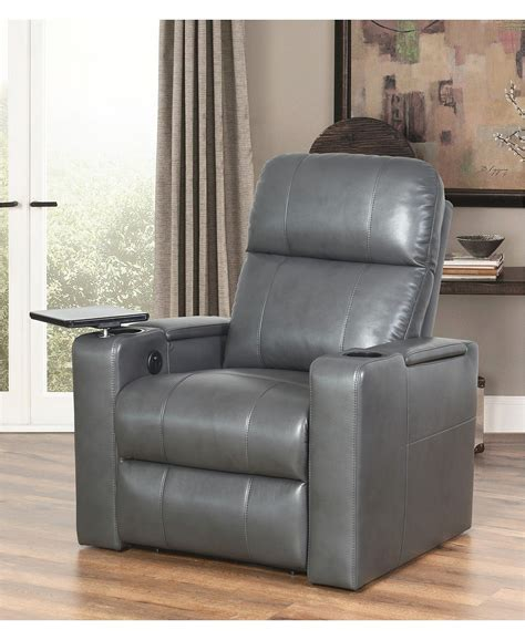 Macys Thomas Leather Recliner Quick Ship Gray