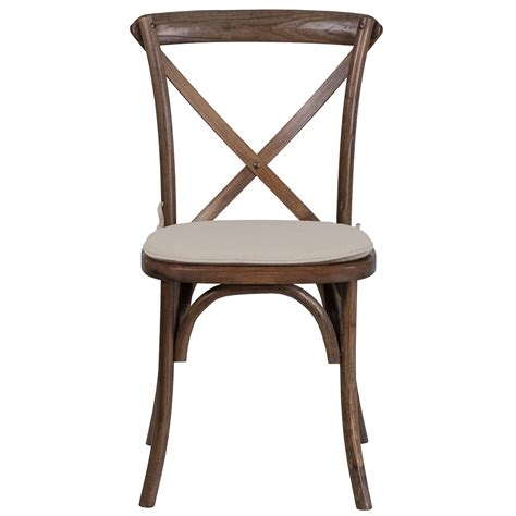 Magpie Early American Cross Back Solid Wood Dining Chair With Cushion