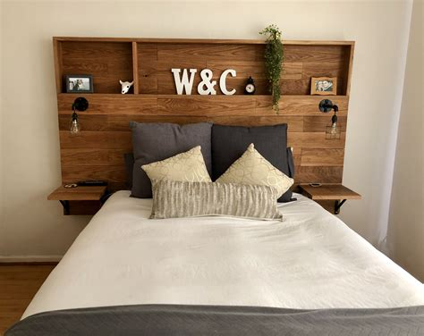 Make A Tall Wood Headboard Diy With Built In