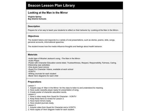 Man In The Mirror Lesson Plan