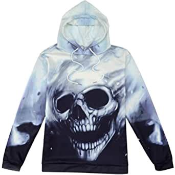 ManxiVoo Hooded Sweatshirt Unisex Skull 3D Printed Hoodie Pullover Long Sleeve Tops Blouse