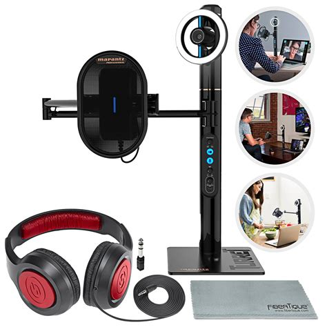 Marantz Professional Turret Broadcast Video System with Closed-Back Headphones & Fibertque Cloth