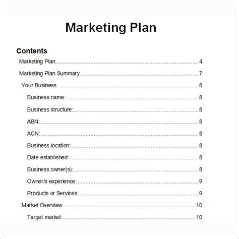 Marketing-Plan-Table-Of-Contents-Template