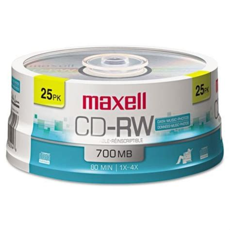 Maxell 630026 CD-RW Discs, 700MB/80min, 4x, Spindle, Silver, 25/Pack