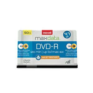 Maxell 638022 DVD-R Recordable Discs, Printable, 4.7GB, 16x, Spindle, White, 50/Pack