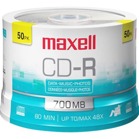 Maxell CD Recordable Media - CD-R - 48x - 700 MB - 50 Pack Spindle - 120mm - 1.33 Hour Maximum Recording Time - 648250