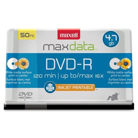 Maxell DVD Recordable Media - DVD+R - 16x - 4.70 GB - 50 Pack Spindle - 120mm - 2 Hour Maximum Recording Time - 639013