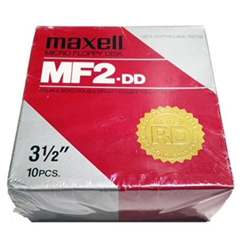 Maxell MF 2 DD Double Sided Double Density Double Tracks Floppy Disk 10 Pack