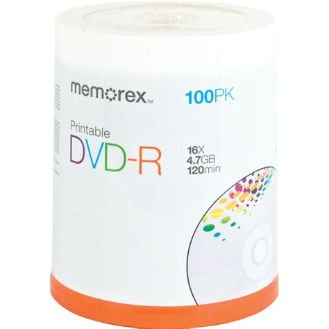 Memorex 100pk Dvd-R 16x 4.7gb Printable 16x