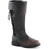 Men Distressed Black and Brown Pull On Knee High Pirate Boots with Lace Up Side