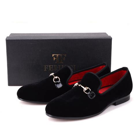 Men FERUCCI Black Velvet Slippers Loafers Flat With Gold Horsebit