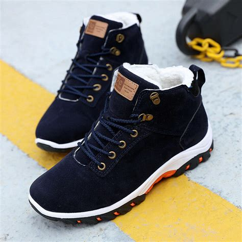 Men Fur Lined Winter Snow Boots High Top Warm Sneakers