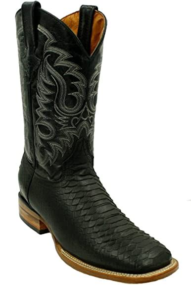 Men Genuine Cowhide Python Print Leather J Toe Western Cowboy Boots