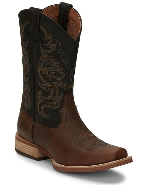 Men Genuine Leather Square Toe decarative Shaft Western Cowboy Boots