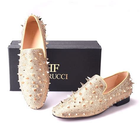 Men Gold Spikes Slippers Loafers Flat With Crystal GZ Rhinestone