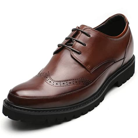 Men Height Increasing Shoes Brogues Dress Wedding Elevator Shoes 2.76'' Taller 218A01