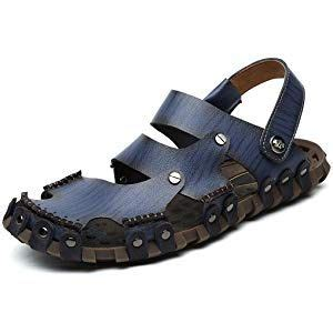 Men Summer Leather Size Plus Closed Toe Outdoor Breathable Sandals