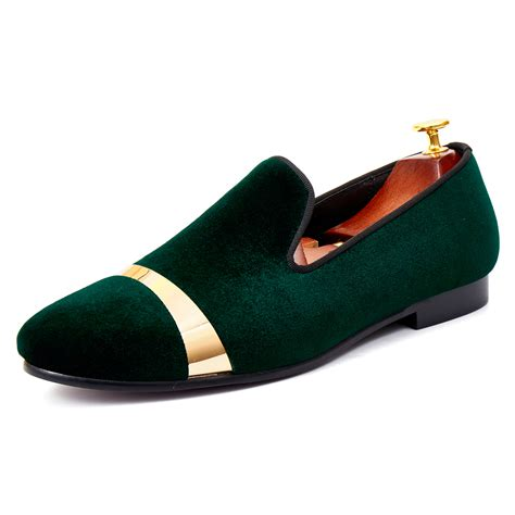 Men Velvet Loafers Handmade Flats Shoes With Gold Plate