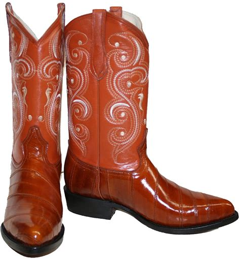 Men genuine eel skin cowboy western j toe leather boots