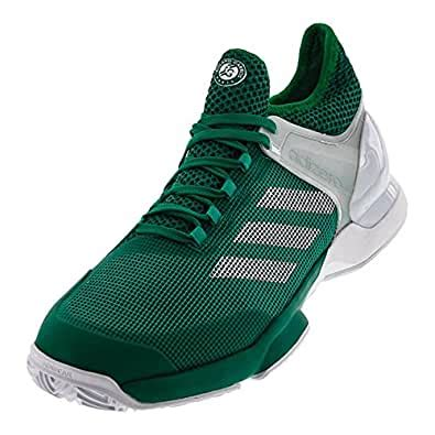 Men`s Adizero Ubersonic 2 Clay Tennis Shoes Core Green and White-(BB3323-