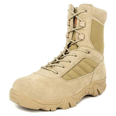 Men's 8 inch Military Tactical Boots Combat Desert Duty Work Shoes with Side Zipper
