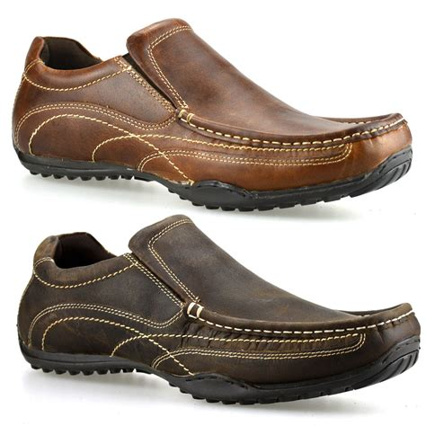 Men's Slip On Moccasin Loafers -Dress and Casual -Genuine Leather, Rubber Sole -Black