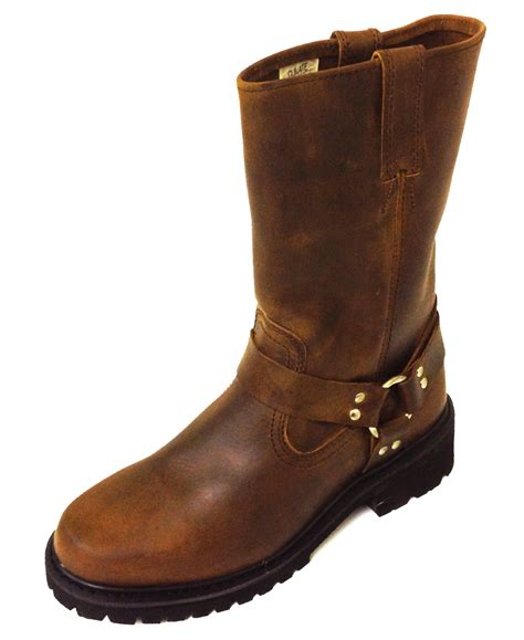 "Men's 12"" Classic Harness Leather Motorcycle Boots"