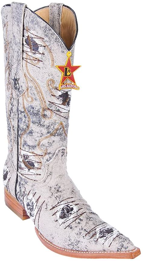Men's 3X-Toe Genuine Leather Denim Skin Western Boots With Patch