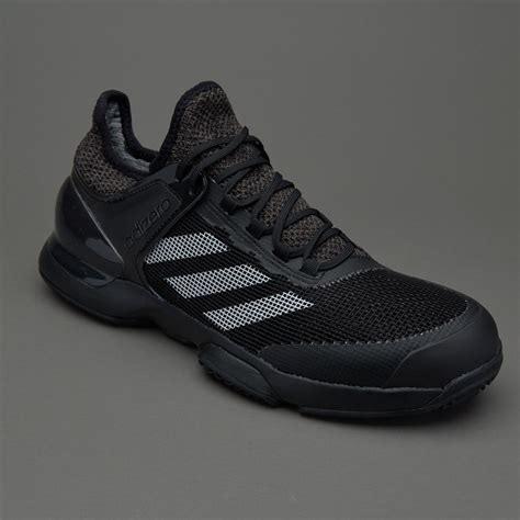 Men's AdiZero Ubersonic 2 Clay Court Tennis Shoes, Black/White/Dark Grey/Heather Grey