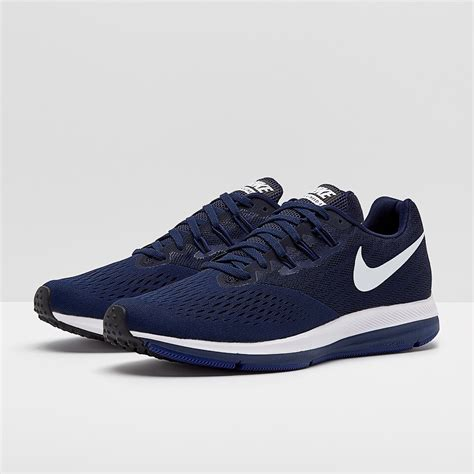 Men's Air Zoom Winflo 4 Running Shoes (12, Blue/White/Black-M)