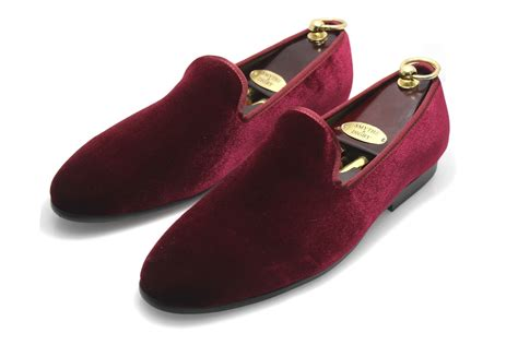 Men's Albert Slipper Leather Velvet Loafer Burgundy