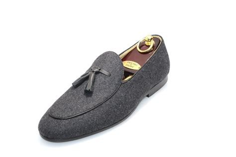 Men's Belgian Slipper Gray Flannel Loafers