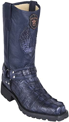 Men's Biker Design Genuine Leather Caiman Tail Western Boots With Industrial Sole