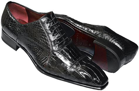 Men's Black Genuine Baby Alligator Italian Oxford Cap Toe Dress Shoes CP201 - Made In Italy