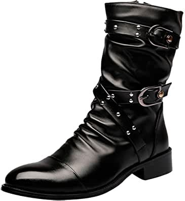 Men's Boots Retro Studded Rivet Buckle Zipper Western Motorcycle Combat Boot Heavy Metal Punk Rock Black