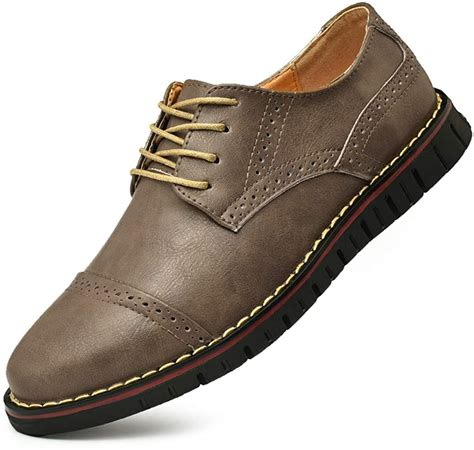 Men's Brogues Oxford Wingtip Genuine Leather Dress Shoes for Business Casual Lace-up Brown